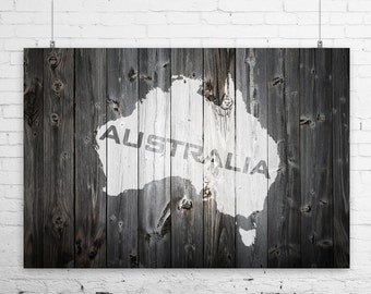 Rustic Painted Barn Wood Australia Map Art Print Wall Poster - Aussie Map, Down Under