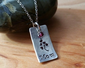 MOM Custom Hand Stamped Aluminum Necklace Dog Tag Style with Dangle Personalized Pendant Mother's Day Gift