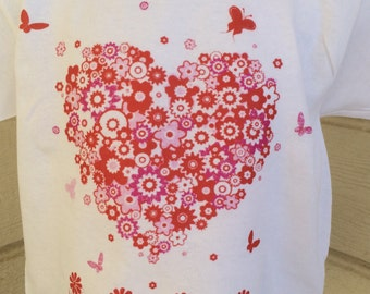 Infant Toddler And Children's Flower  Heart and Butterflies Graphic White Tshirt
