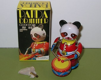 Tin Windup Panda Drummer Toy, New in the Box
