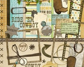 "Cowboy Digital Scrapbook Kit - ""Ride 'em Cowboy"" digiscrap kit with cowboy boots, sheriff badge, lasso, scrapbook layouts of your buckaroo"