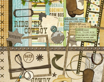 "Cowboy Digital Scrapbook Kit - ""Ride 'em Cowboy"" digiscrap kit with cowboy boots, sheriff badge, lasso, scrapbook layouts of your buckaroo"