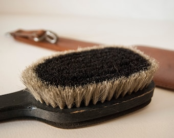 Vintage wooden Brush / Clothes cleaning brush / Wooden Brush / Bristle Brush / Brush with leatherette backrest / Hanging brush