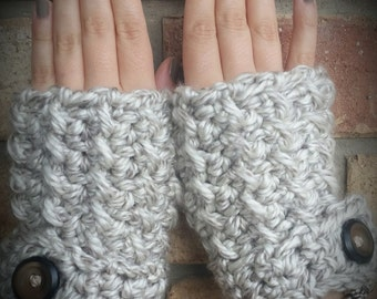 Chunky Crochet Grey Fingerless Mittens
