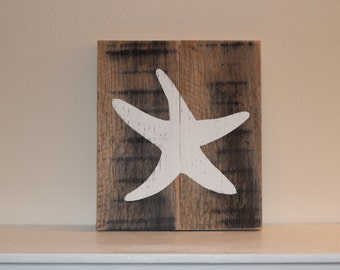 Starfish Pallet Sign - Reclaimed Wood Starfish Wall Art - Starfish Decor