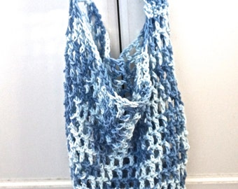 Blue and White Multi Crochet Market Bag FREE SHIPPING