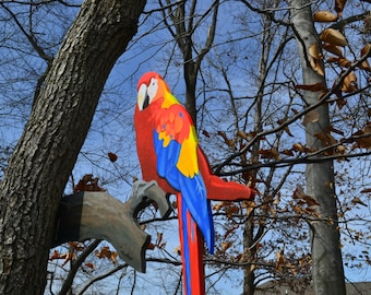 A Colorful parrot in your tree lawn art yard decor colorful birds