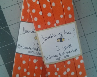 "White Polka Dot on Orange Double Fold Bias Tape - 3 yards, CHOOSE 3/8"" or 1/2"" wide"