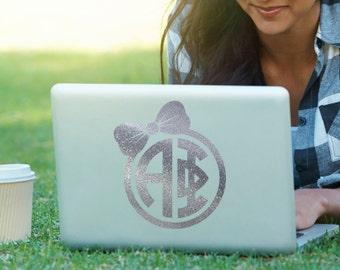 Alpha Phi Bow Monogram Decal Sorority Decal Laptop Sticker Car Decal