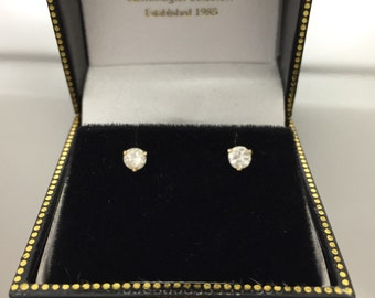 14k White Gold Diamond Stud Estate Earrings .33 ct With Tension Back