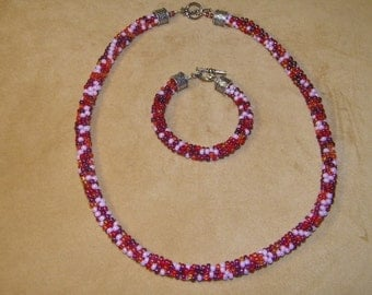 Seed Bead Kumihimo Necklace and Bracelet Jewelry Set Gift-Ruby Red and Pink