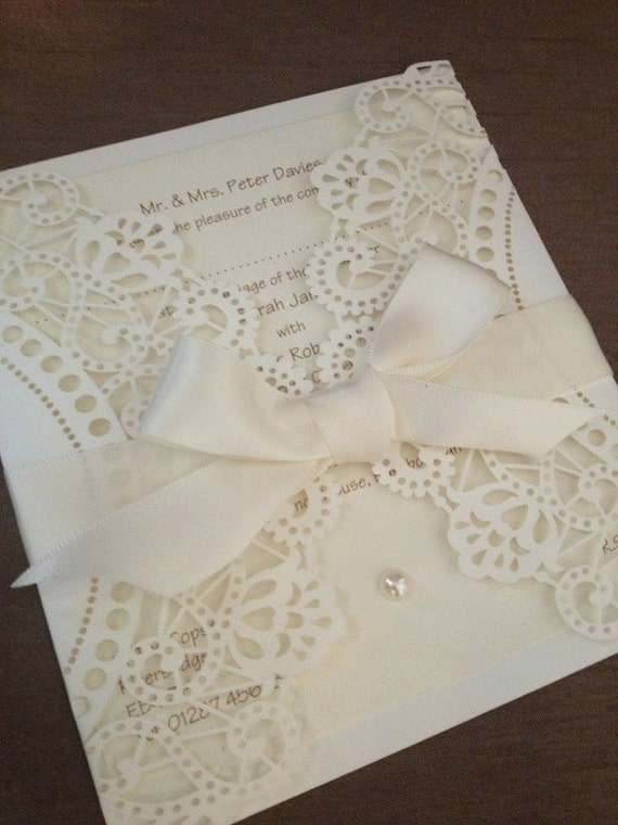 Items Similar To 50 DIY Laser Cut Doily Wedding Invitations On Etsy