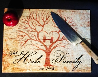 Personalized Glass Cutting Board, Wedding Gift, Tree, Anniversary Gift, Family Name, Custom Gift, Monogram, Gift