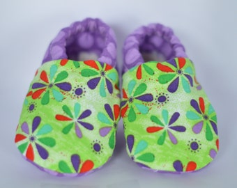 Lime green and purple flower booties, soft soled booties, gripper sole