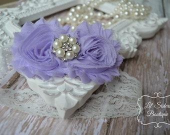 Lavender Shabby Chic Flower Headband, Purple Headband, Lavender Headband, Flower Headband, Hair Bow