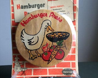Nevco Hamburger Press with Silly Duck Grilling Burgers