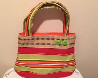 Cute cabana striped shoulder bag in orange and green