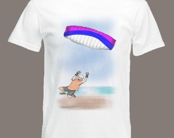 Cartoon Power Kite Flyer T-shirt Extreme Sports Kite Flyer in all sizes