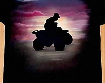 Airbrushed Quade Bike T-shirt All-Terrain Vehicle ATV in all sizes