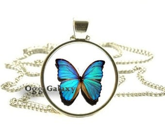 MORPHO BUTTERFLY PENDANT Blue Butterfly Necklace