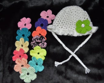 Baby Sun Hat with Interchangeable Flowers Crocheted