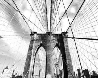 Brooklyn Bridge New York City Black and White Photography Print