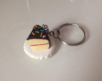 Chocolate cake keyring, keychain, bag charm, cake, gift