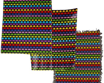 Space Invaders Multicolor Retro Video Game Throw Blanket / Tapestry Wall Hanging