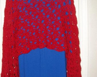 Crochet Shawl:  Lacy Red Crochet Shawl