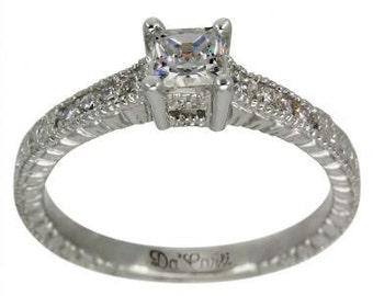 Diamond Engagement Ring Princess Cut Diamond 1/2 Carat In Vintage Diamond Ring