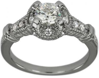 Vintage Ring Engagement Ring 3/4 Carat Diamond Art Deco Ring With Diamonds 14k
