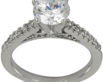 Engagement Ring 1 Carat Diamond Cathedral Setting Round Diamond 14k White Gold