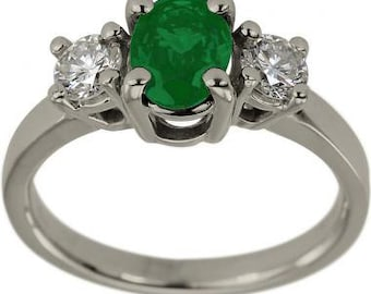 Emerald Engagement Ring Diamonds And Oval Shaped Emerald In 14K White Gold