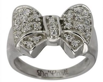 Bow Diamond Ring With 0.50 Carat Pave Diamonds In 14K White Gold