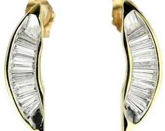 Crescent Shape Diamond Baguette Earrings In 14K Yellow Gold