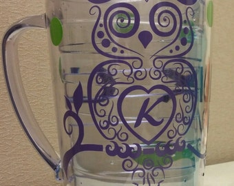 Customized pitcher - owl and polka dots