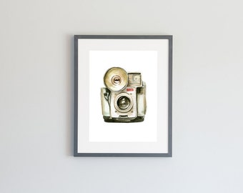 Hand Painted Watercolor Archival Giclée Print - Vintage Camera