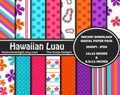 Hawaiian Luau Digital Paper Pack, Summer Party Decor Printable, Hawaii Beach Party, Pool Party, Scrapbooking Paper, Instant Download