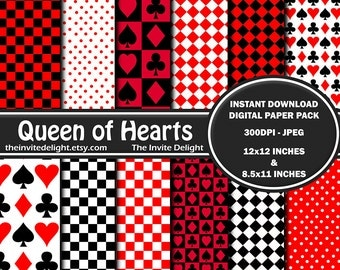 Queen of Hearts Digital Paper Pack, Red and Black Party Decor, Alice in Wonderland Birthday Party, Scrapbooking Paper, Instant Download