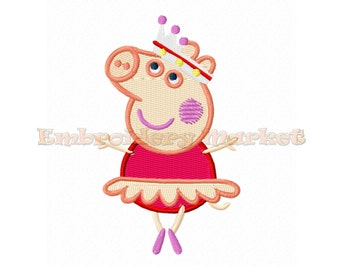 princess peppa pig Embroidery Design in 4 sizes Instant Download