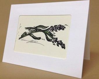 "Hand painted lino print greeting card, 5""x7"""