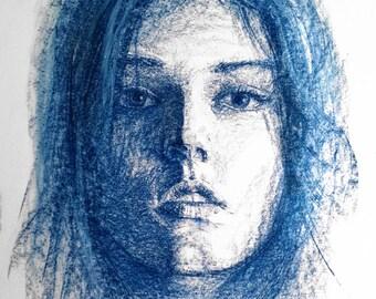 Blue Girl Portrait A2 Size