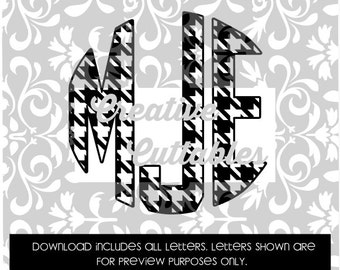 Houndstooth Monogram Circle Letters for  Silhouette or other craft cutters (.svg/.dxf/.eps)