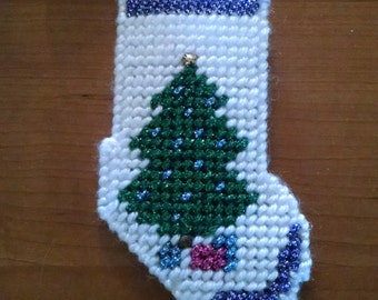 Christmas Tree Stocking plastic canvas ornament Multiple Colors Available