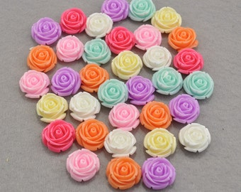 50pcs Rose Charms--Mixed Colors Resin Rose Flower Cabochon 20mm/Flat back Necklace, Pendants.