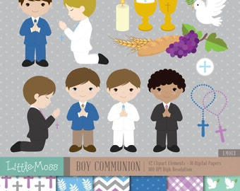 Boy First Communion Digital Clipart and Papers, Communion Boy Clipart, Communion Clipart
