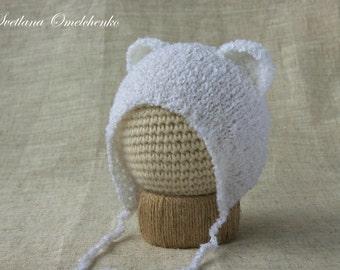 Baby Bear Hat, Newborn Knit Hat, Knit Bear Hat, Baby Boy Photo Prop, Baby Girl Photo Prop