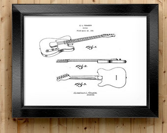 Downloadable Art, Home Decor, Fender Guitar Printable, Telecaster, Patent Art, Patent Printable, Vintage Fender Art Print