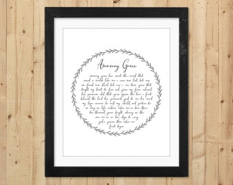 Amazing Grace Printable Wall Art / Christian Printable Hymn Lyrics / Amazing Grace Art Print / Instant Download Art