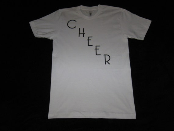 Custom Made Cheer T-Shirt 100% Cotton in White With Cheer Diagonal on Front in Black Glitter, Size Medium